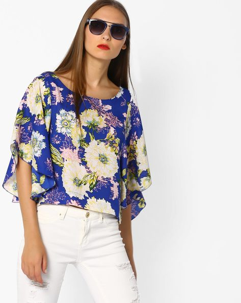 Printed Top With Batwing Sleeves By AJIO ( Navyblue )