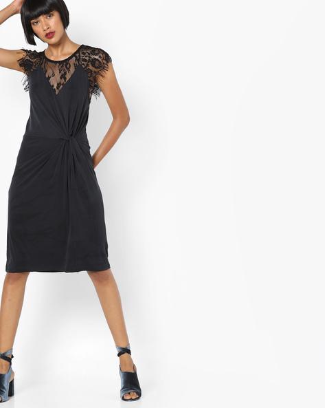 Sheath Dress With Lace Inserts By SAINT TROPEZ ( Black )