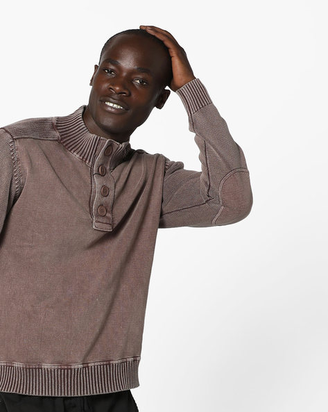 Regular Fit Pullover With Ribbed Hems By AJIO ( Red )