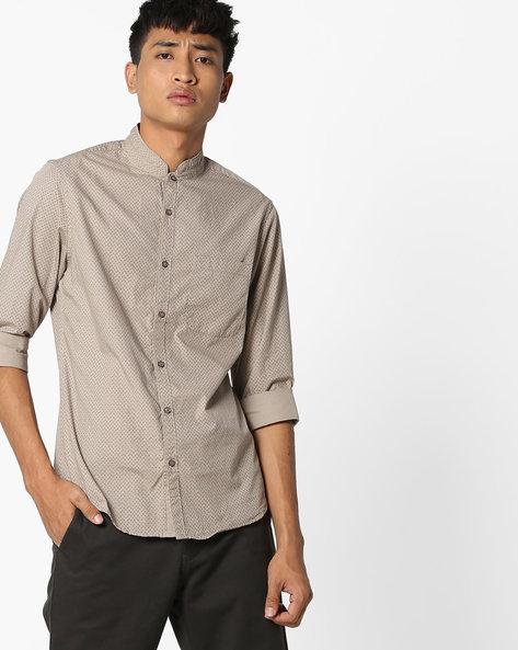 Micro Print Shirt With Mandarin Collar By AJIO ( Grey )