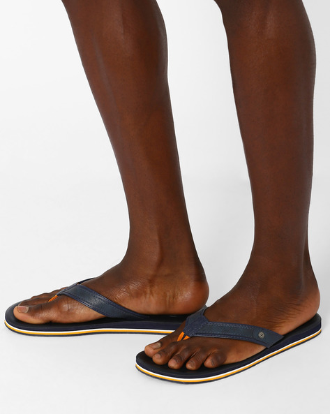 Faux Leather Flip-Flops By Sole Threads ( Navy )