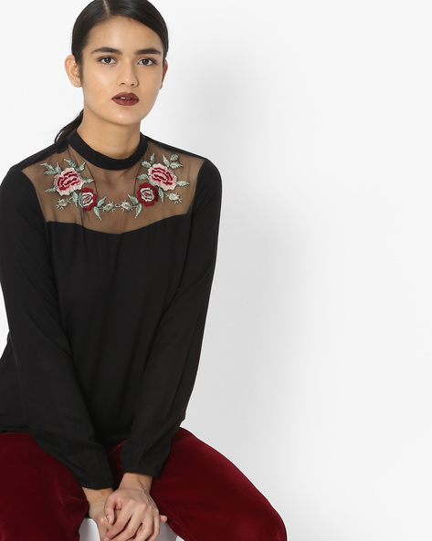 Embroidered High-Neck Top By Oxolloxo ( Black )